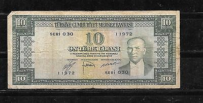 TURKEY #157a 1952 VG CIRC OLD 10 LIRA BANKNOTE PAPER MONEY CURRENCY BILL NOTE