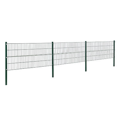 [pro.tec] Fence 6X0, 8M Green Double Rod Fence Set Wire Metal Fence