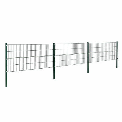[pro.tec] Fence 6x0,8m Green Double Rod Fence Set Grid Meshes Metal Fence