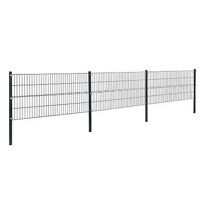 [pro.tec] Fence 6x0,8m Grey Double Rod Fence Set Grid Meshes Metal Fence
