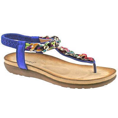 9de78ef3e3 Ladies Boulevard Metallic Blue Multi Elasticated Toe Post Sandals L9528C Kd