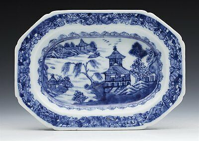 Antique Chinese Qianlong Blue & White Small Sized Serving Dish C.1770