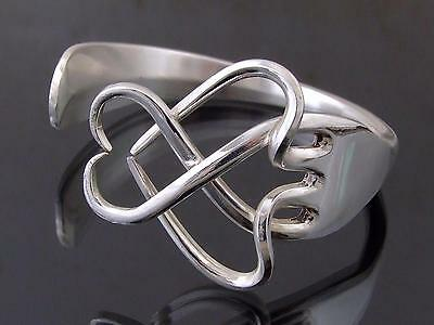 Silver Plated Heart Fork Bracelet Bangle Unusual Gift Vintage Unique