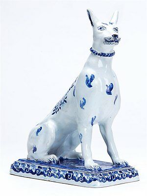 Antique Dutch Delft Model Of A Seated Dog Figure 19Th C.