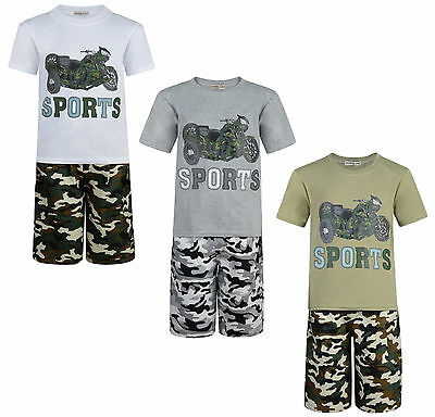 Boys Shorts T Shirt Set 2 Piece Outfit Army Motorbike 3-12 Years Bnwt