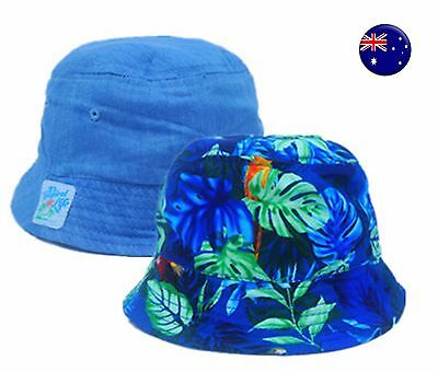 Boy Kid Baby Tropical Blue double sides convertible Bucket Sun Hat Cap 1-2 Years