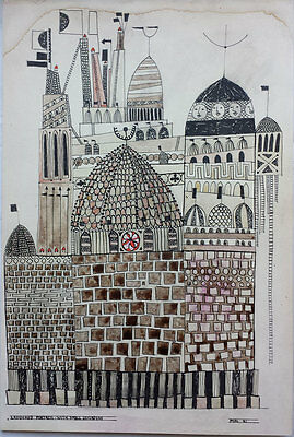 Laddered Fortress - Interesting Original Ink Drawing Signed 'mac' 1961 Paul Klee