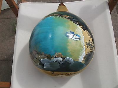 Antique Latin American Hand Painted Gourd With Signiture