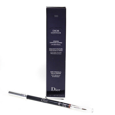 Dior Contour Lip Liner Pencil 593 Brown Fig With Brush & Sharpener | Damaged Box