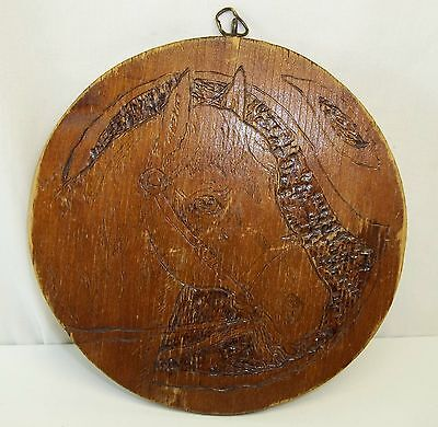 "Antique Vintage Flemish Art Pyrography Horse Equestrian 5 3/4"" Wood Panel"