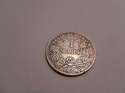 1885 G One Mark Silver German Coin