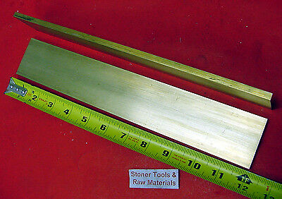 "2 Pieces 1/4"" x 2"" C360 BRASS FLAT BAR 12"" long Solid .25"" Mill Stock H02"