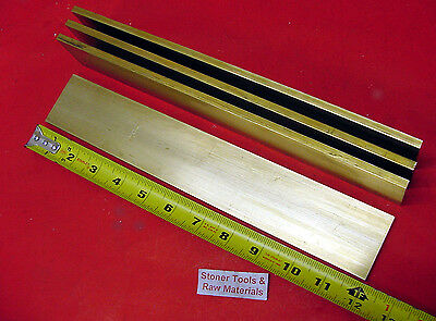 "15 Pieces 1/4"" x 2"" C360 BRASS FLAT BAR 12"" long Solid .250"" Mill Stock H02"