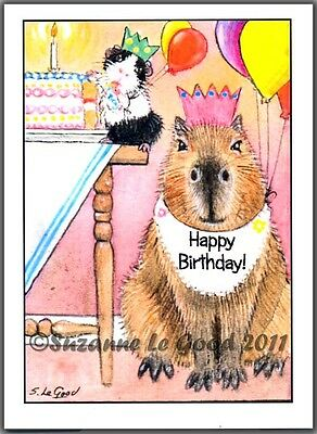 Guinea Pig Capybara art birthday card from original painting by Suzanne Le Good