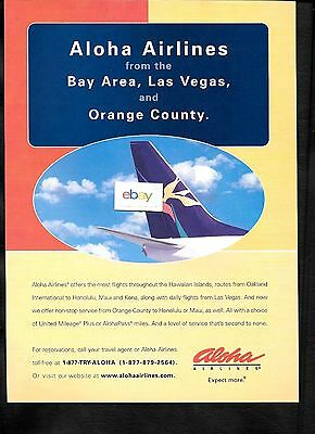 Aloha Airlines New Service To Honolulu From Oakland-Orange County- Las Vegas Ad