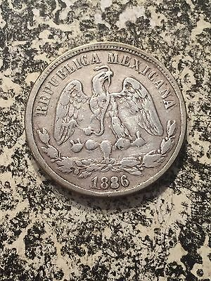 1886-Do C Mexico 50 Centavos Lot#3969 Silver! Low Mintage! Scarce!