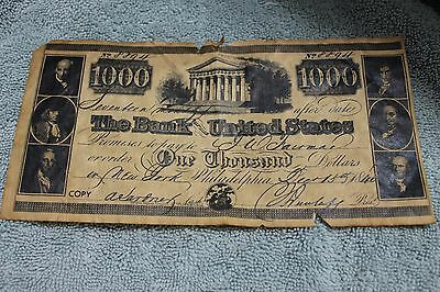 1840 1000 Dollar Bank Note Bank Of United States No 8894