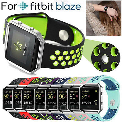 Replacement Silicone Rubber Sport WatchBand Strap + Steel Frame For Fitbit Blaze