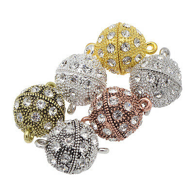 5 Pcs Crystal Rhinestone Round Ball Strong Magnetic Clasps Jewelry Findings