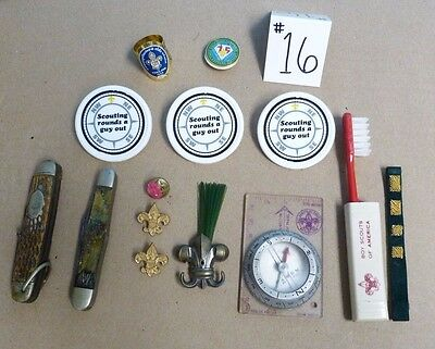 Vtg Pre Owned Boy Scouts Of America Items Lot Compass Pins Knife Toothbrush #16