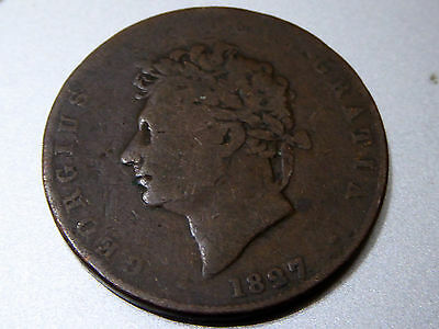 Rare Antique Coin - 1827 Copper Penny King George IV - Good Condition