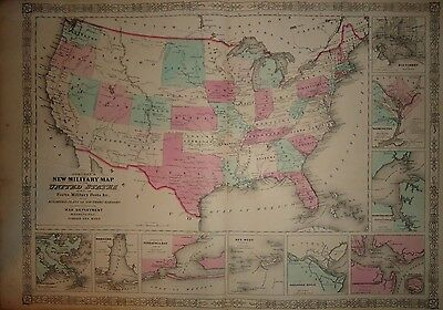 1860's MAP ~ UNITED STATES MILITARY MAP  ~ ORIGINAL ATLAS MAP *FREE S&H - J23
