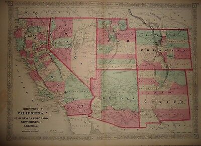 Vintage 1868 Southwestern United States Territories Map Antique Original 041717