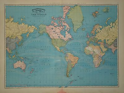 VINTAGE 1897 WORLD MAP OLD ANTIQUE ORIGINAL 21x29 ATLAS MAP *FREE S&H DNR