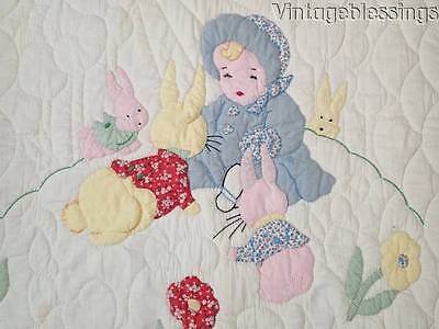 Adorable Never Used Applique Crib QUILT Bye Bye Baby VINTAGE 30s