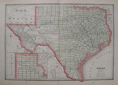1883 Texas Large Original 2-page Color Atlas Map**.. Indian Territory & Col back