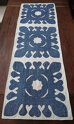 Only One! Antique Hearts 1860s Indigo Blue & White Applique Table Quilt RUNNER