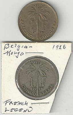 xx From Accumulation - 2 OLDER 1 FRANC COINS..BELGIAN CONGO..BOTH 1926..2 TYPES