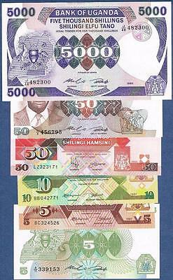 1982-1994 Uganda, 5-10-50-5000 Shillings, Lot Of 6 Different High Grade Notes