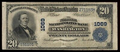 ICOIN - 1902 Washington D.C. $20 Large Size National Bank Note Ch#1069