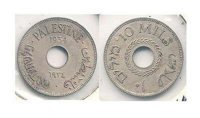 1934 Palestine 10 Mills Coin in Very Fine to Extra Fine Condition -- KM #4 ~