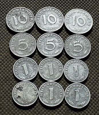 Lot Of Twelve Nazi Germany Coins From World War Ii With Swastika - Mix 771