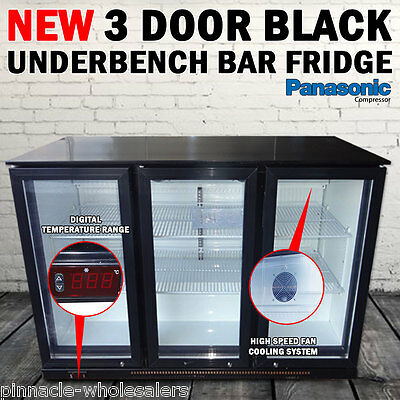NEW 3 Door Under Bench Bar Fridge Beer Industrial Refrigerator Double Glazed