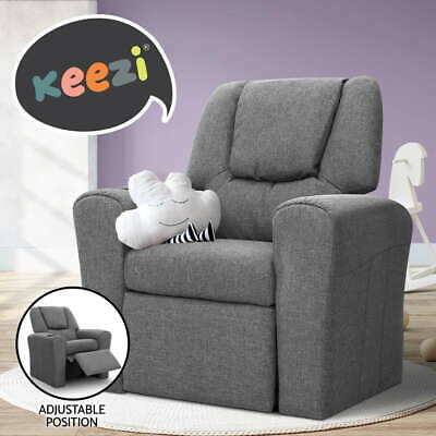 Luxury Kids Recliner Sofa Children Lounge Chair Padded Linen Fabric Arm Grey