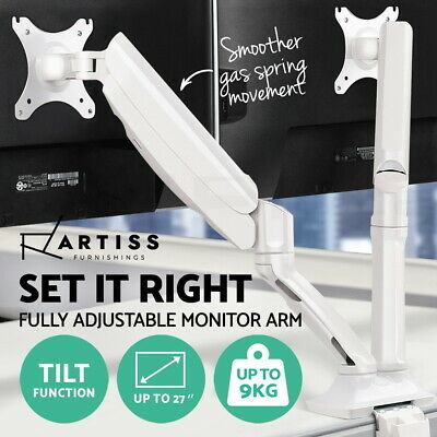 Artiss Dual Monitor Arm Gas Spring Desk Mount 2 HD LED Screens TV Holder White