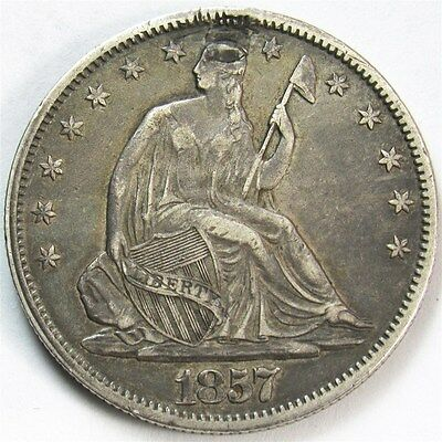 1857 Seated Liberty Half Dollar - XF (Details) - 50c Silver