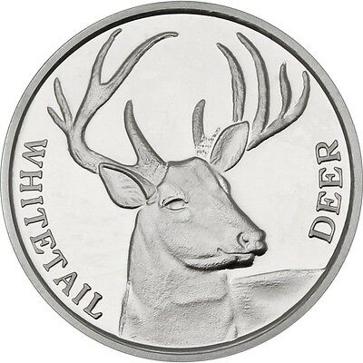 Deer coin Whitetail buck one troy ounce silver medallion encapsulated