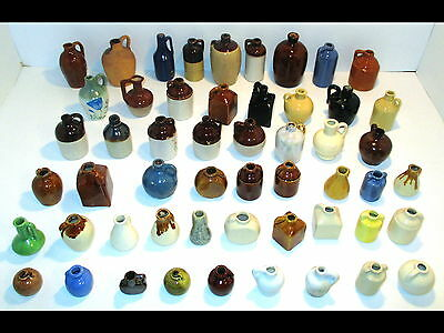 Lot 53 Old Vintage Miniature Stoneware Clay Pottery Whiskey Jug/Bottle/Crocks