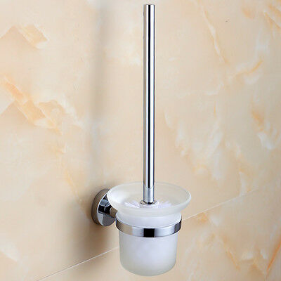 Wall Mounted Toilet Brush Holder Cup Mug Frosted Glass Set Bathroom Washroom