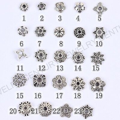Tibetan Silver Metal Flower Loose Spacer Beads Caps Lots 6MM 8MM 10MM 12MM 14MM