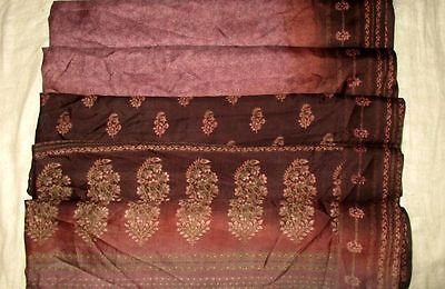 USED BUT WEARABLE PURE SILK Vintage Sari Saree 5yds Gu Y1606 0x Wine #ABEM7