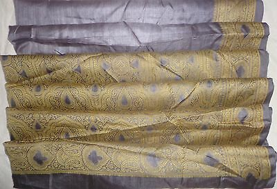 USED BUT WEARABLE PURE SILK Vintage Sari Saree 5yds Gu Gp19 0x Weaving #ABDD8