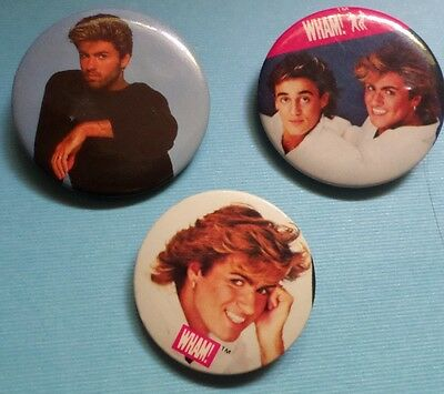 Vintage Wham Pin Back Button GEORGE MICHAEL 80's Band Pinback Set of 3