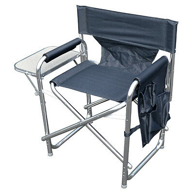 Grey Sturdy Portable Travel Camping Folding Directors Chair with Pockets & Table