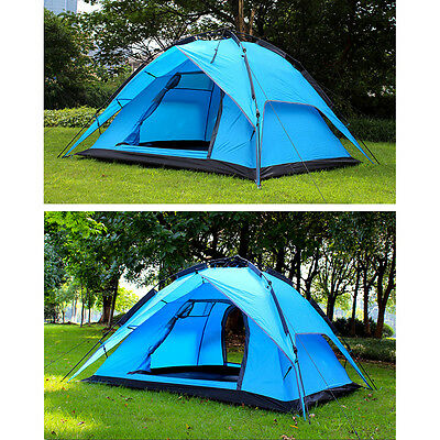 Waterproof 4-6 Person Double layer Family Camping Hiking Instant Tent 3 modes AU