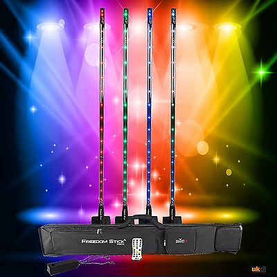 *Graded* Chauvet DJ Rechargable LED Freedom Stick Event 4 Pack Inc Bag & IRC-6